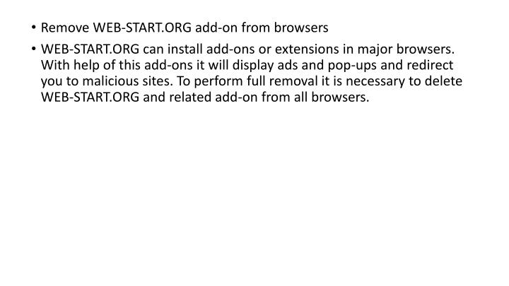 Remove WEB-START.ORG add-on from browsers