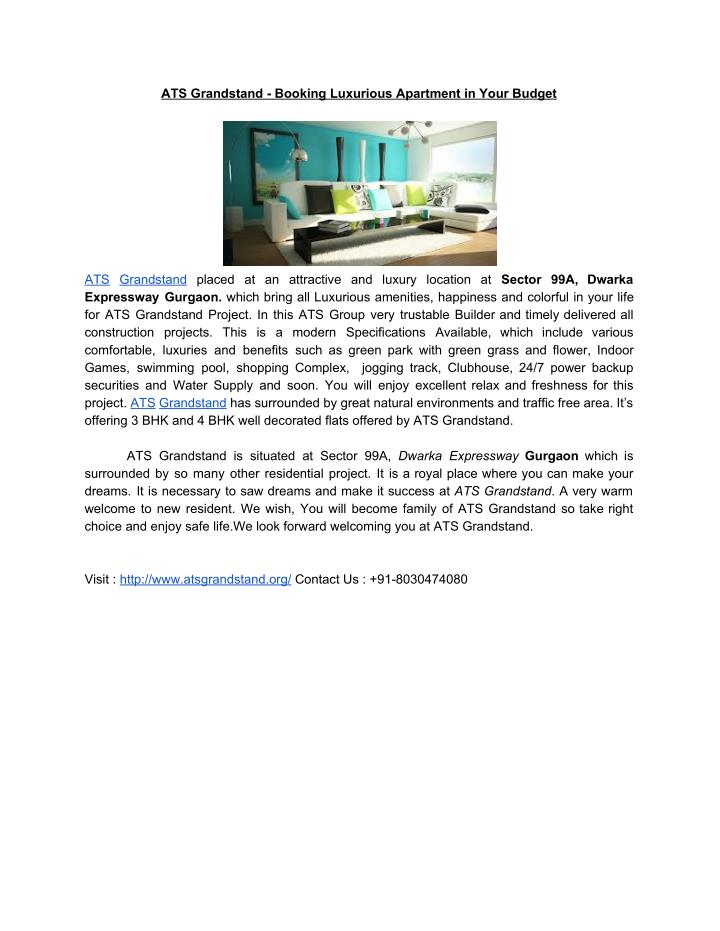 ATS Grandstand - Booking Luxurious Apartment in Your Budget