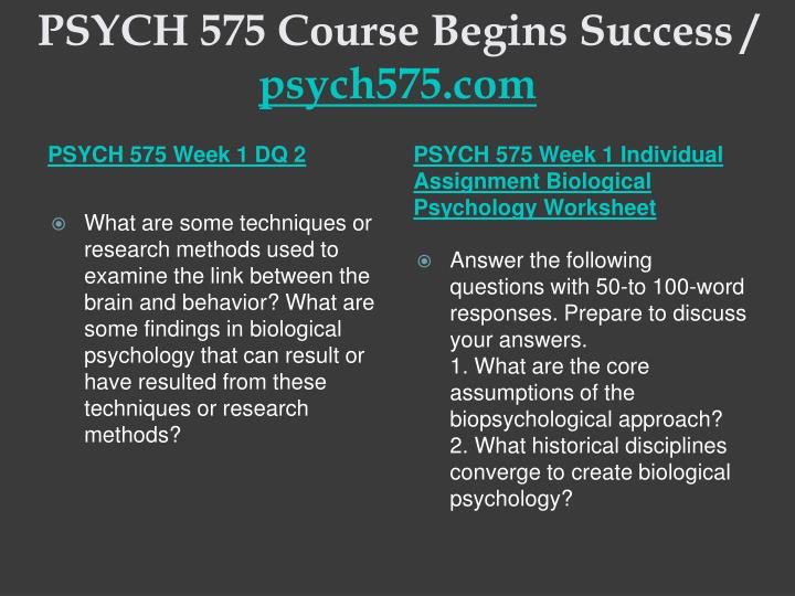 Psych 575 course begins success psych575 com2