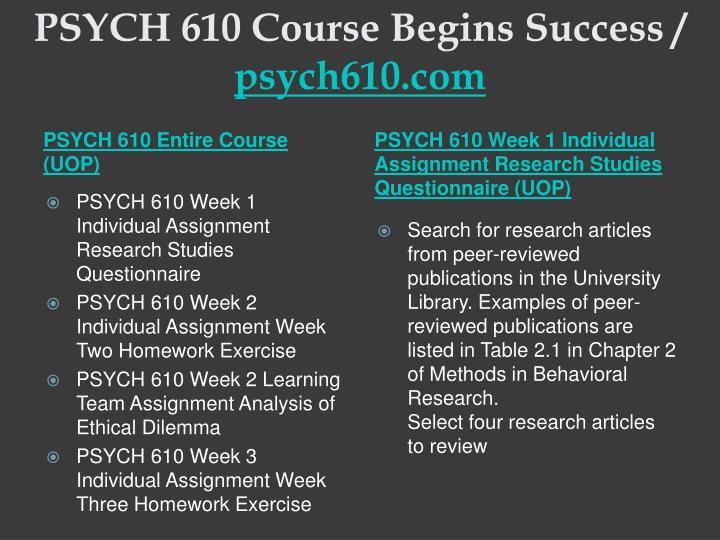 Psych 610 course begins success psych610 com1