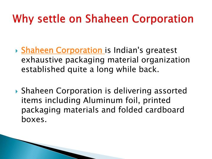 Why settle on shaheen corporation