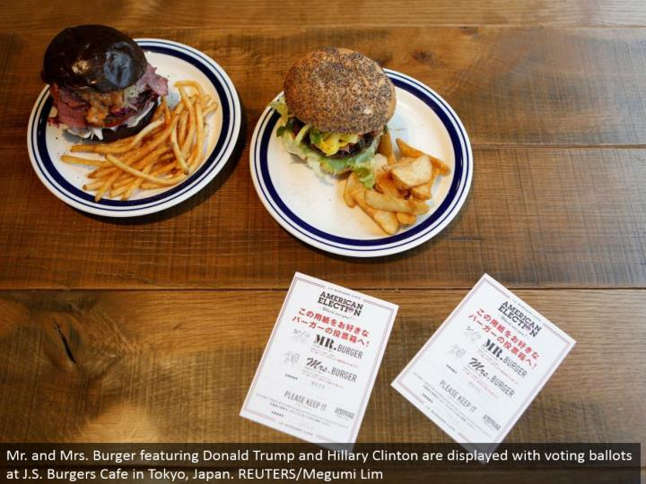 Mr. what's more, Mrs. Burger including Donald Trump and Hillary Clinton are shown with voting votes at J.S. Burgers Cafe in Tokyo, Japan. REUTERS/Megumi Lim