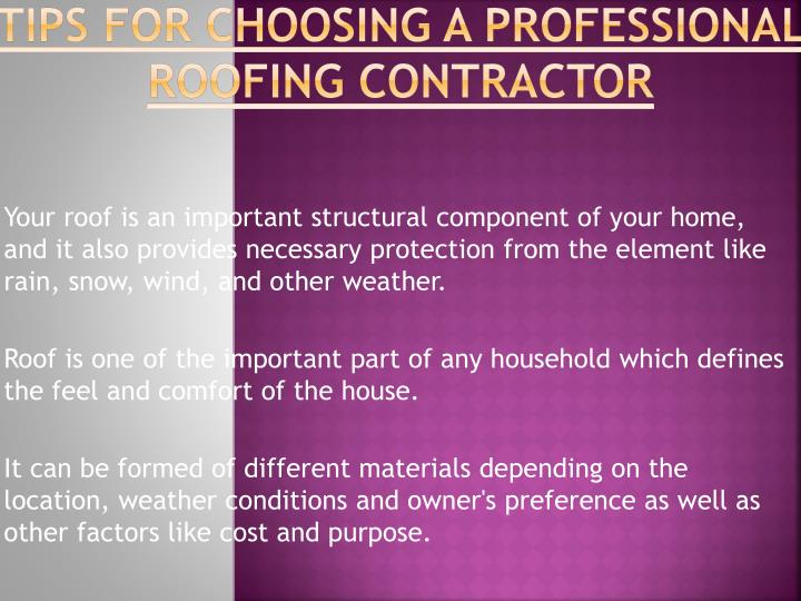 tips for choosing a professional roofing contractor n.