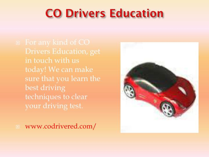 Co drivers education