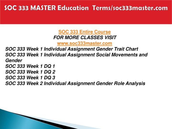 soc333 r2 gender trait chart carlos banuelos english 71 martin 3/20/2014 gender exercise sex and gender are different things, sex defines the difference of a person based on their body parts and gender is the characteristic that makes a person act in a certain way in order to satisfy the society.