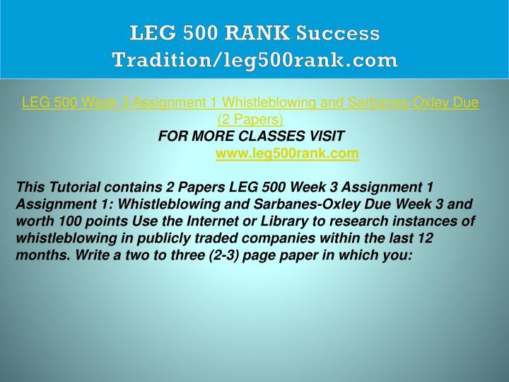 LEG 500 RANK Success Tradition/leg500rank.com