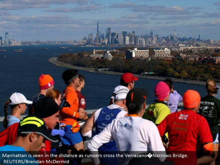 Manhattan is found out there as runners cross the Verrazano�Narrows Bridge.  REUTERS/Brendan McDermid