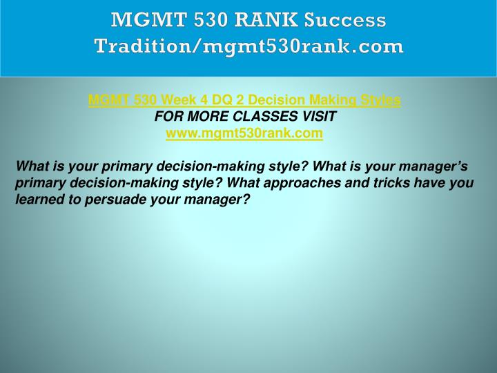 MGMT 530 RANK Success Tradition/mgmt530rank.com