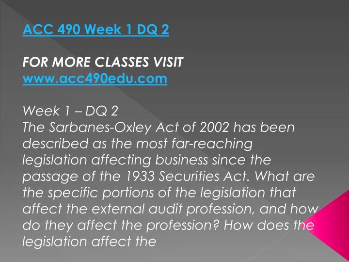 ACC 490 Week 1 DQ 2