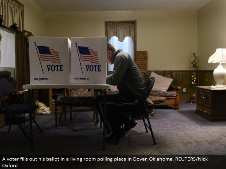 A voter rounds out his vote in a family room surveying place in Dover, Oklahoma. REUTERS/Nick Oxford
