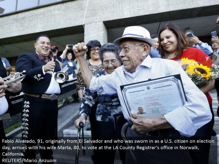 Fabio Alvarado, 91, initially from El Salvador and who was confirmed as a U.S. subject on decision day, lands with his significant other Marta, 80, to vote at the LA County Registrar's office in Norwalk, California.  REUTERS/Mario Anzuoni