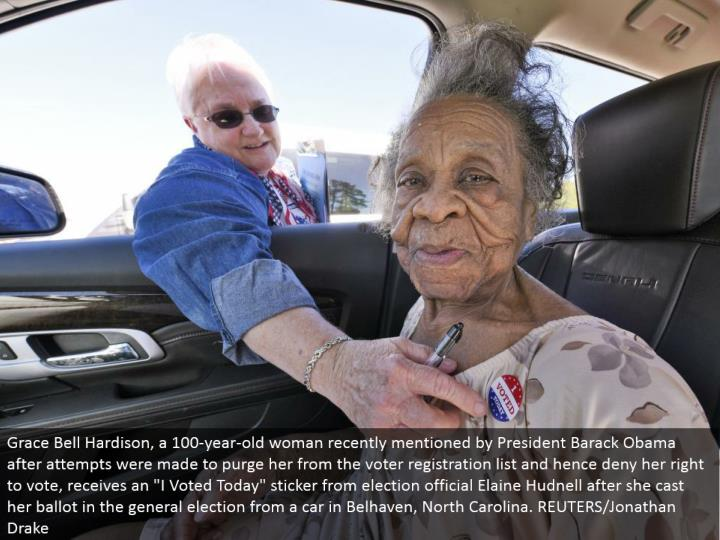 "Grace Bell Hardison, a 100-year-old lady as of late said by President Barack Obama after endeavors were made to cleanse her from the voter enlistment list and consequently deny her entitlement to vote, gets an ""I Voted Today"" sticker from race official Elaine Hudnell after she cast her tally in the general decision from an auto in Belhaven, North Carolina. REUTERS/Jonathan Drake"