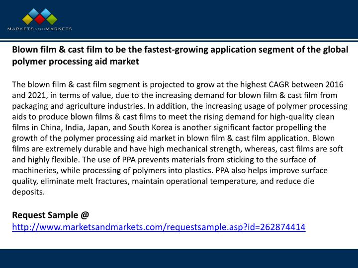 Blown film & cast film to be the fastest-growing application segment of the global polymer processing aid