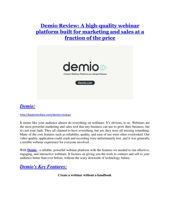 Demio Review: A high-quality