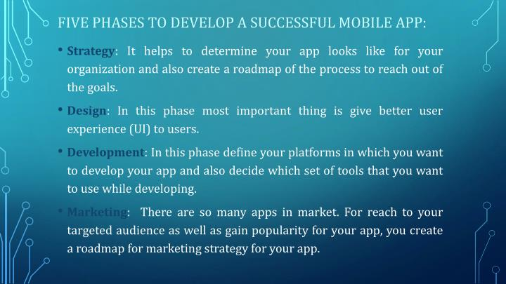 Five Phases to develop a successful mobile app: