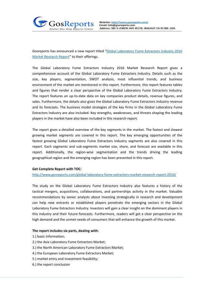 """Gosreports has announced a new report titled """"Global Laboratory Fume Extractors Industry 2016"""