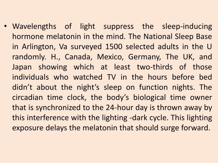 Wavelengths of light suppress the sleep-inducing hormone melatonin in the mind. The National Sleep Base in Arlington,