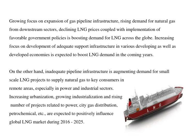 Growing focus on expansion of gas pipeline infrastructure, rising demand for natural gas from downst...