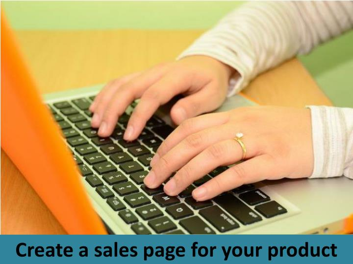 Create a sales page for your product