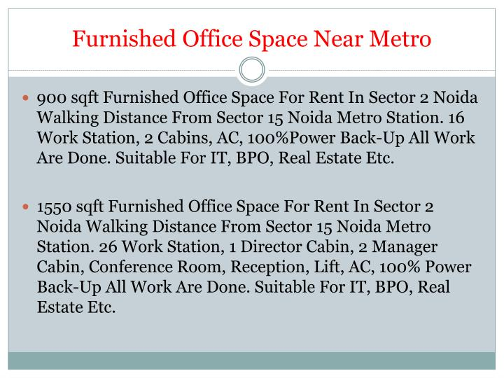 Furnished office space near metro