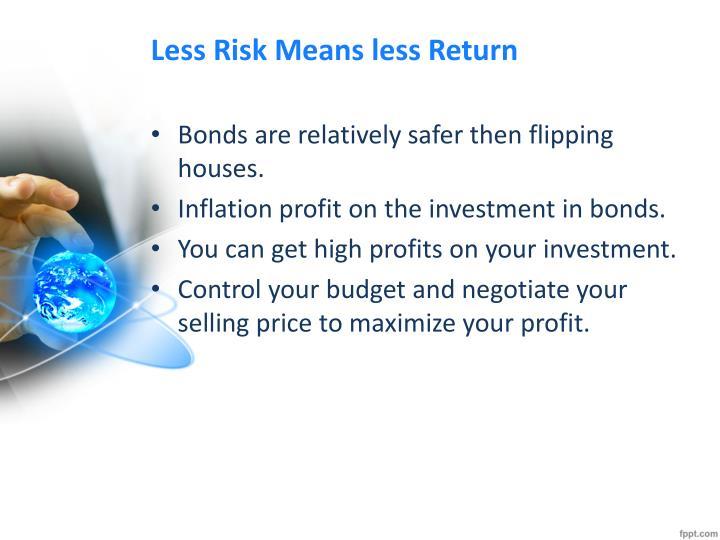 Less risk means less return