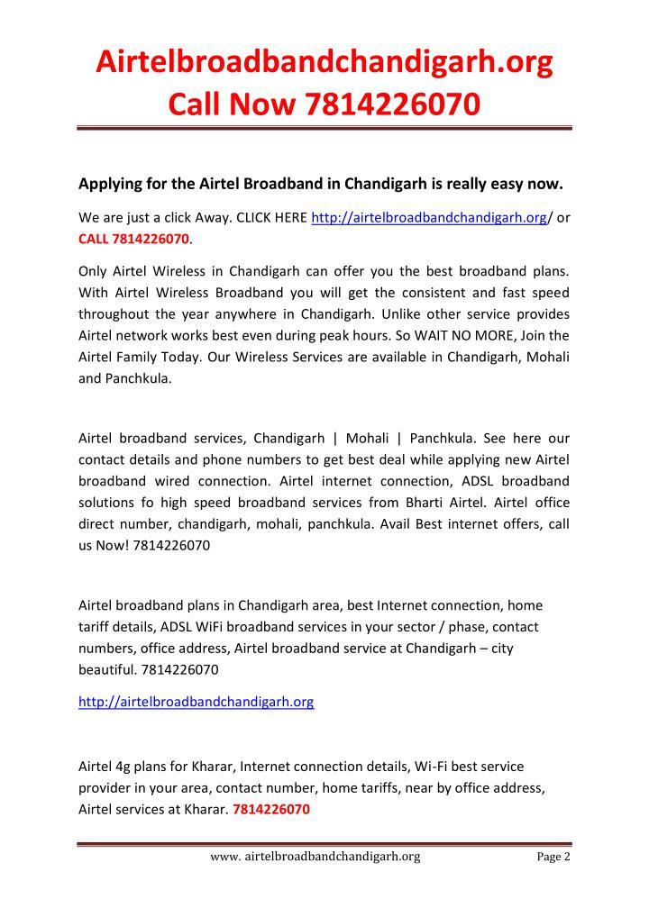 Airtelbroadbandchandigarh.org