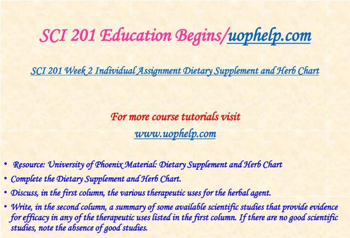SCI 201 Education Begins/