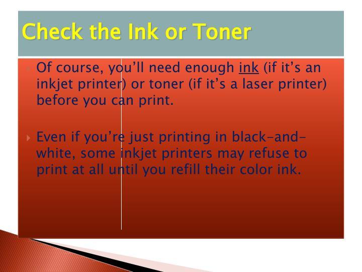 Check the Ink or Toner