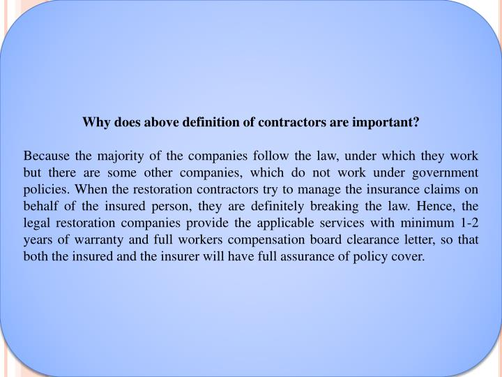 Why does above definition of contractors are important?