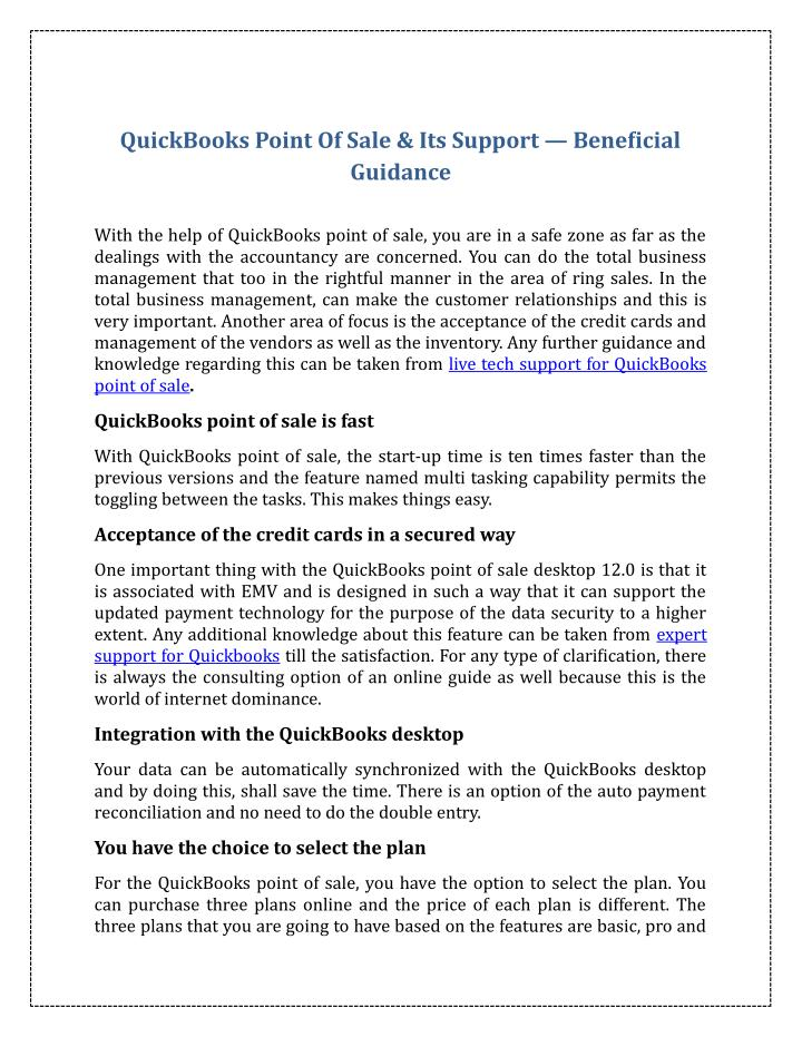 QuickBooks Point Of Sale & Its Support — Beneficial