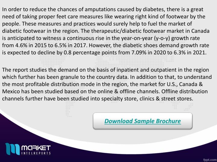In order to reduce the chances of amputations caused by diabetes, there is a great need of taking proper feet care measures like wearing right kind of footwear by the people. These measures and practices would surely help to fuel the market of diabetic footwear in the region. The therapeutic/diabetic footwear market in Canada is anticipated to witness a continuous rise in the year-on-year (y-o-y) growth rate from 4.6% in 2015 to 6.5% in 2017. However, the diabetic shoes demand growth rate is expected to decline by 0.8 percentage points from 7.09% in 2020 to 6.3% in 2021.