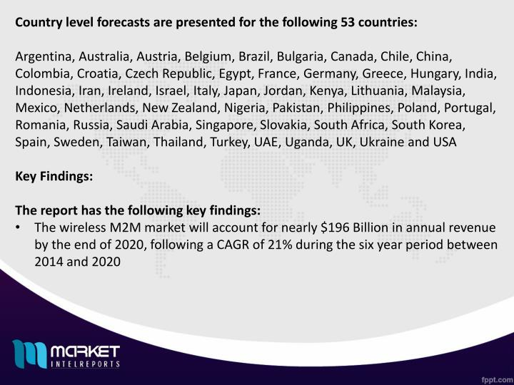 Country level forecasts are presented for the following 53 countries: