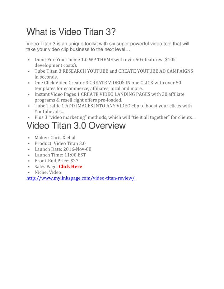 What is Video Titan 3?