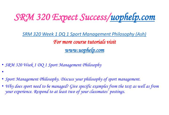 Srm 320 expect success uophelp com2