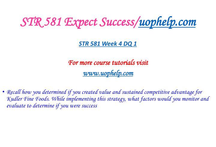 STR 581 Expect Success/