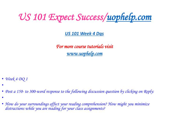 US 101 Expect Success/