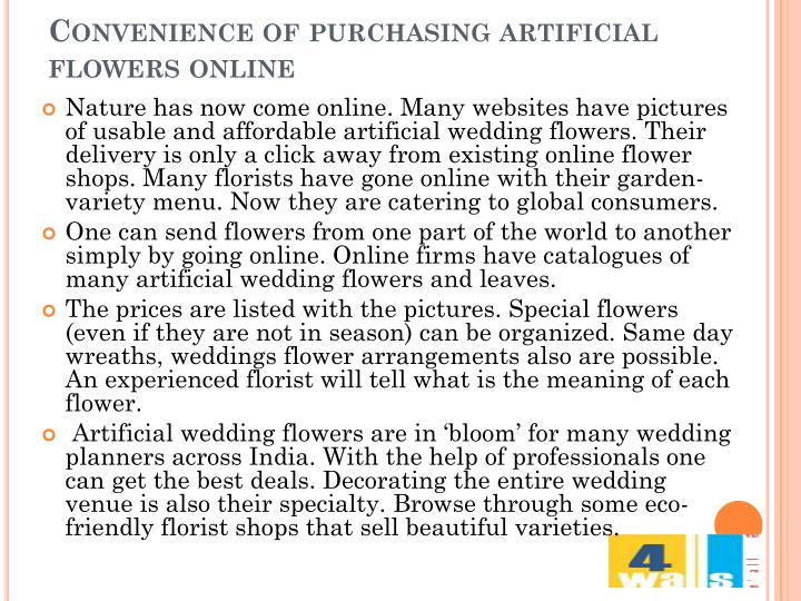 Convenience of purchasing artificial  flowers online