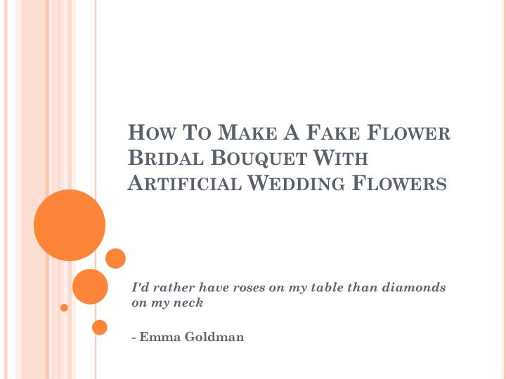 How to make a fake flower bridal bouquet with artificial wedding flowers
