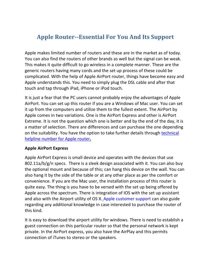 Apple Router--Essential For You And Its Support