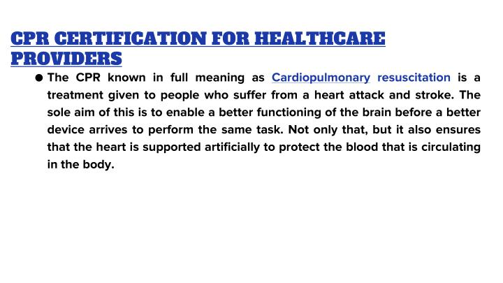 CPR CERTIFICATION FOR HEALTHCARE PROVIDERS