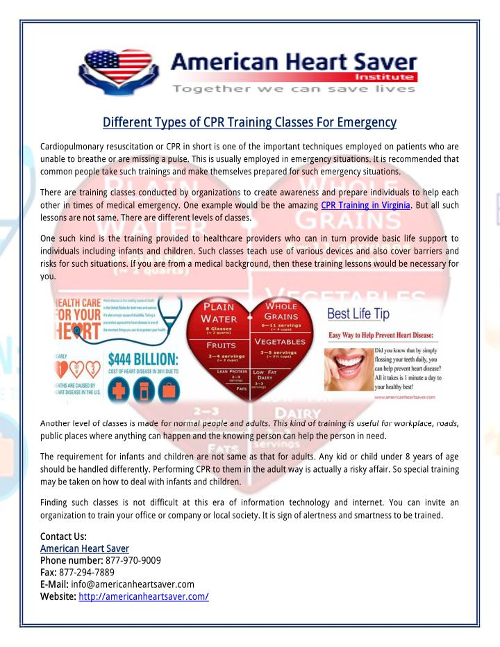 Different Types of CPR Training Classes For Emergency
