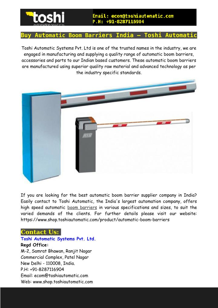 PPT - Buy Automatic Boom Barriers India – Toshi Automatic PowerPoint