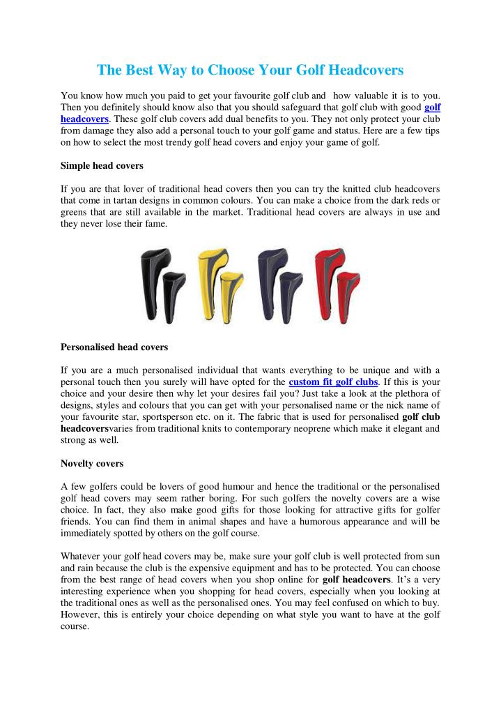 The Best Way to Choose Your Golf Headcovers