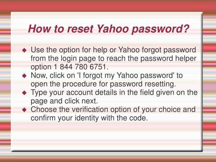 How to reset Yahoo password?