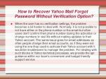 how to recover yahoo mail forgot password without verification option