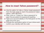 how to reset yahoo password