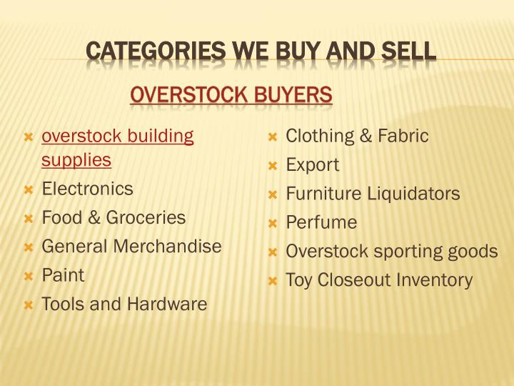 Categories We Buy And Sell