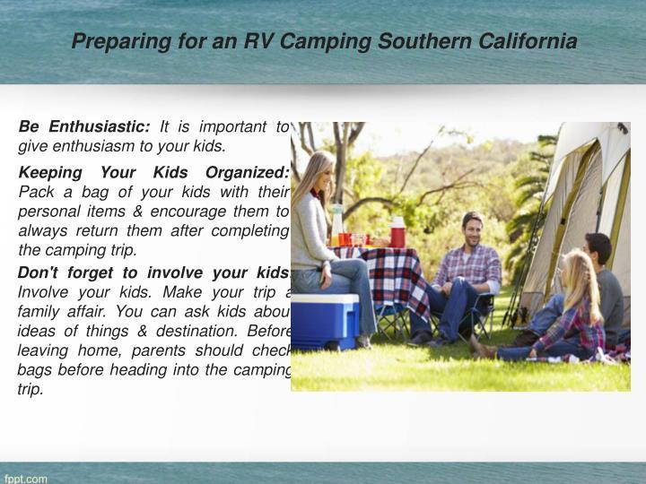 Preparing for an RV Camping Southern California