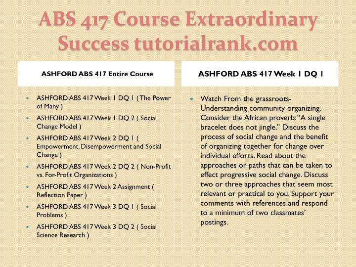 Abs 417 course extraordinary success tutorialrank com1