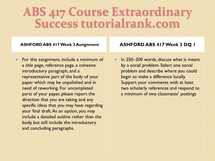ABS 417 Course Extraordinary  Success tutorialrank.com